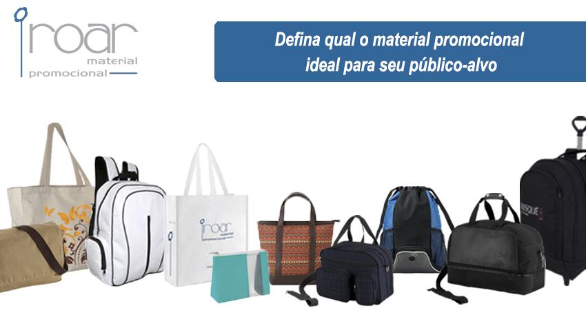 defina o material promocional e mochilas personalizadas ideal para seu publico alvo