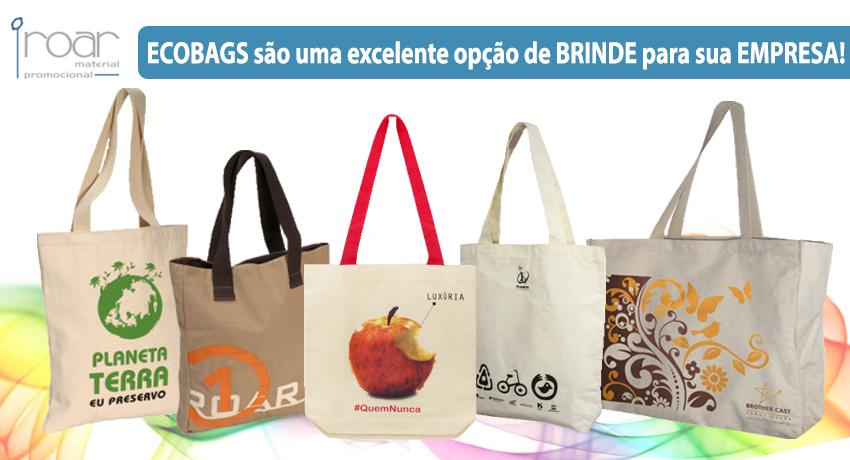 ecobags são uma escelente opcao de brinde para sua empresa Roar mochilas personalizadas e material promocional